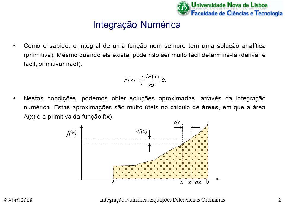 9 Abril 2008 Integração Numérica: Equações Diferenciais Ordinárias 2 Integração Numérica Como é sabido, o integral de uma função nem sempre tem uma so