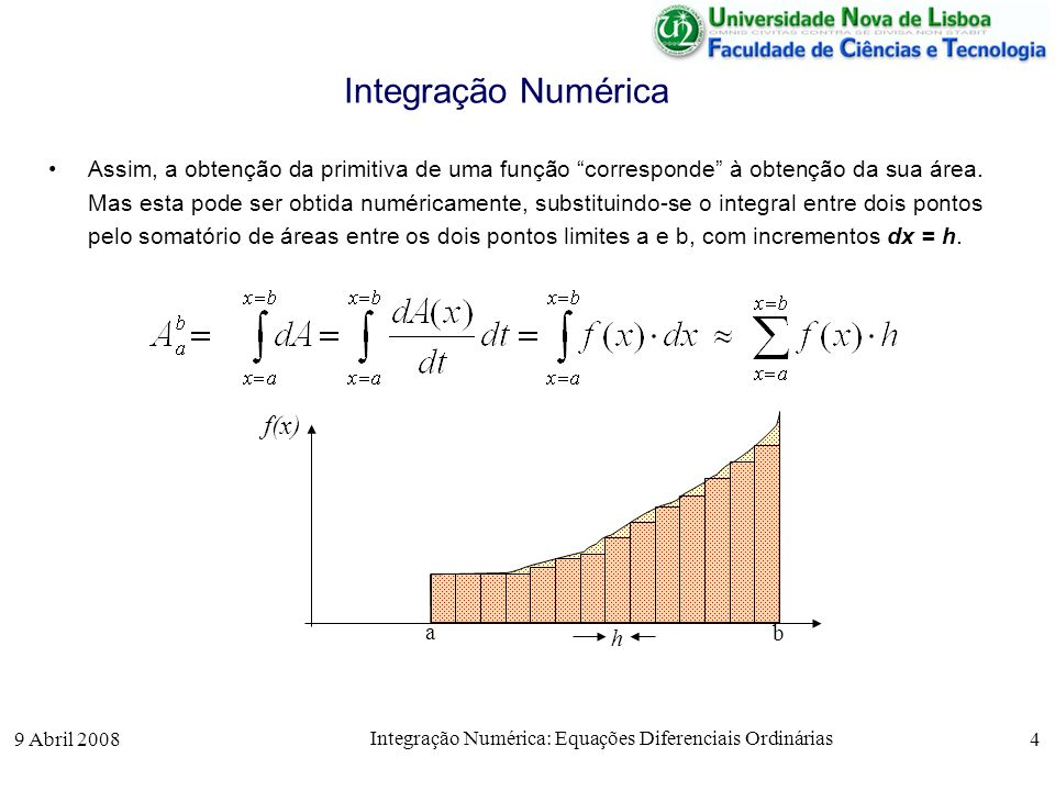 9 Abril 2008 Integração Numérica: Equações Diferenciais Ordinárias 4 Integração Numérica Assim, a obtenção da primitiva de uma função corresponde à ob