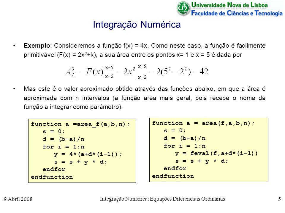 9 Abril 2008 Integração Numérica: Equações Diferenciais Ordinárias 5 Integração Numérica Exemplo: Consideremos a função f(x) = 4x. Como neste caso, a