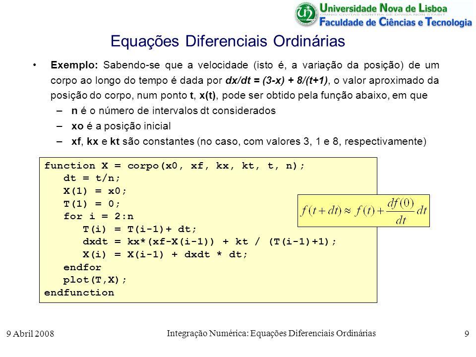 9 Abril 2008 Integração Numérica: Equações Diferenciais Ordinárias 9 Equações Diferenciais Ordinárias Exemplo: Sabendo-se que a velocidade (isto é, a