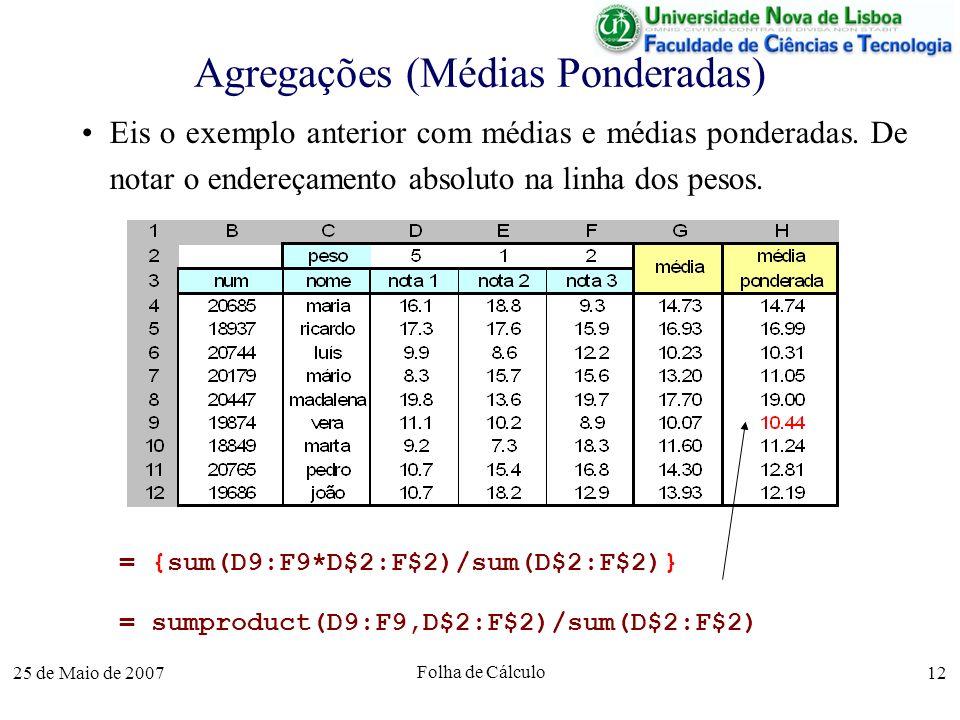 25 de Maio de 2007 Folha de Cálculo 12 Agregações (Médias Ponderadas) Eis o exemplo anterior com médias e médias ponderadas. De notar o endereçamento