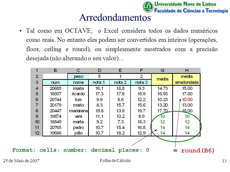 25 de Maio de 2007 Folha de Cálculo 13 Arredondamentos Tal como em OCTAVE, o Excel considera todos os dados numéricos como reais. No entanto eles pode