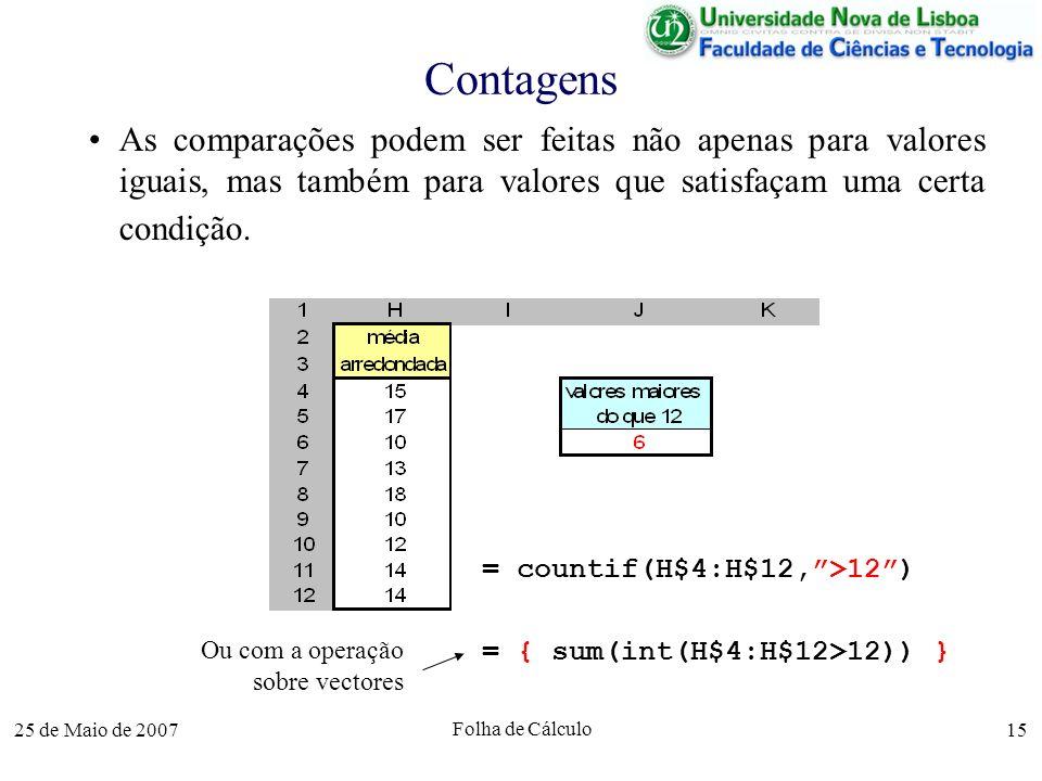 25 de Maio de 2007 Folha de Cálculo 15 Contagens As comparações podem ser feitas não apenas para valores iguais, mas também para valores que satisfaça