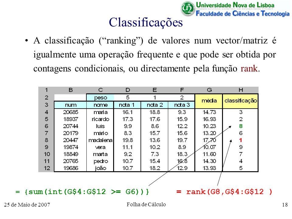 25 de Maio de 2007 Folha de Cálculo 18 Classificações A classificação (ranking) de valores num vector/matriz é igualmente uma operação frequente e que