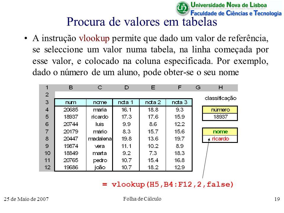 25 de Maio de 2007 Folha de Cálculo 19 Procura de valores em tabelas A instrução vlookup permite que dado um valor de referência, se seleccione um val