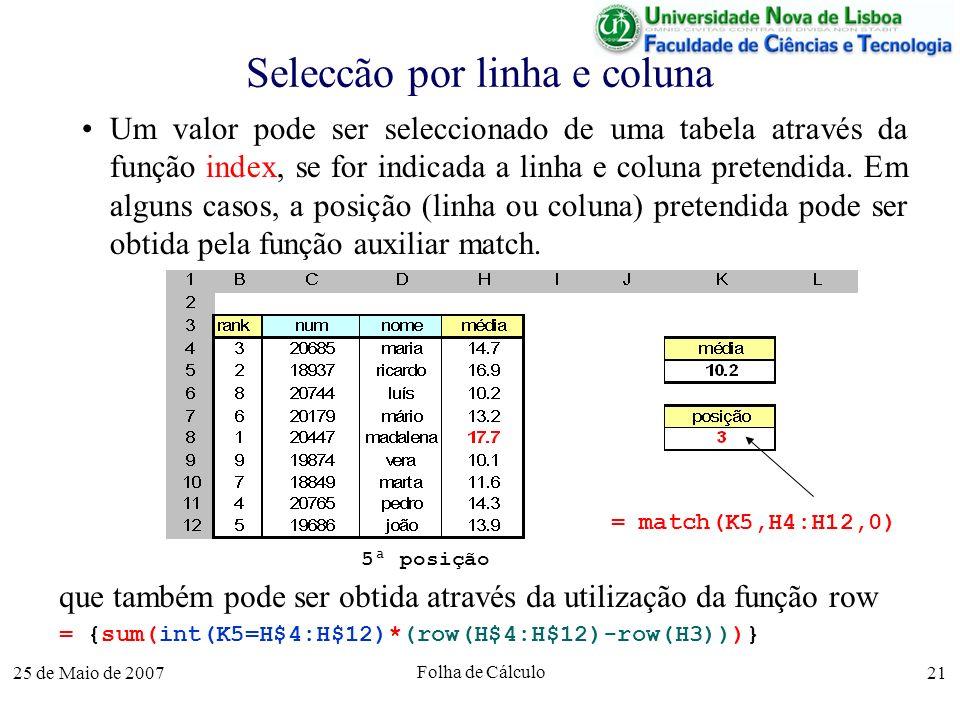 25 de Maio de 2007 Folha de Cálculo 21 Seleccão por linha e coluna Um valor pode ser seleccionado de uma tabela através da função index, se for indica