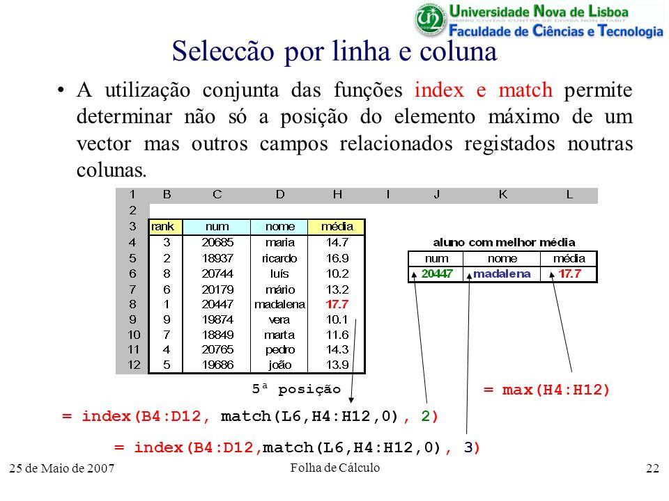 25 de Maio de 2007 Folha de Cálculo 22 Seleccão por linha e coluna A utilização conjunta das funções index e match permite determinar não só a posição