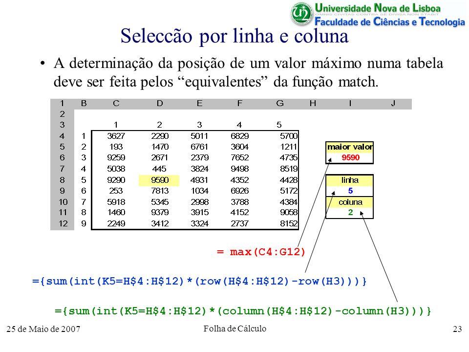 25 de Maio de 2007 Folha de Cálculo 23 Seleccão por linha e coluna A determinação da posição de um valor máximo numa tabela deve ser feita pelos equiv