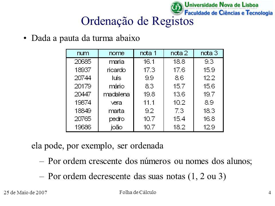 25 de Maio de 2007 Folha de Cálculo 4 Ordenação de Registos Dada a pauta da turma abaixo ela pode, por exemplo, ser ordenada –Por ordem crescente dos