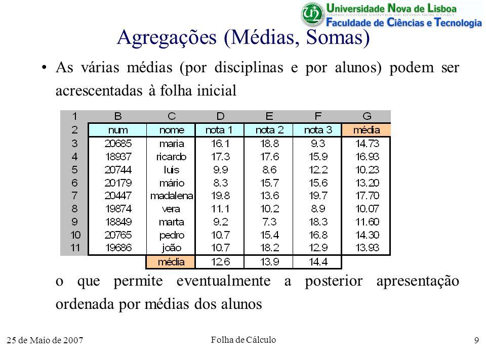 25 de Maio de 2007 Folha de Cálculo 10 Agregações (Extremos) Outras funções de agregação podem ser usadas para determinar por exemplo os máximos e mínimos = max(D3:D11 ) = min(D6:F6)