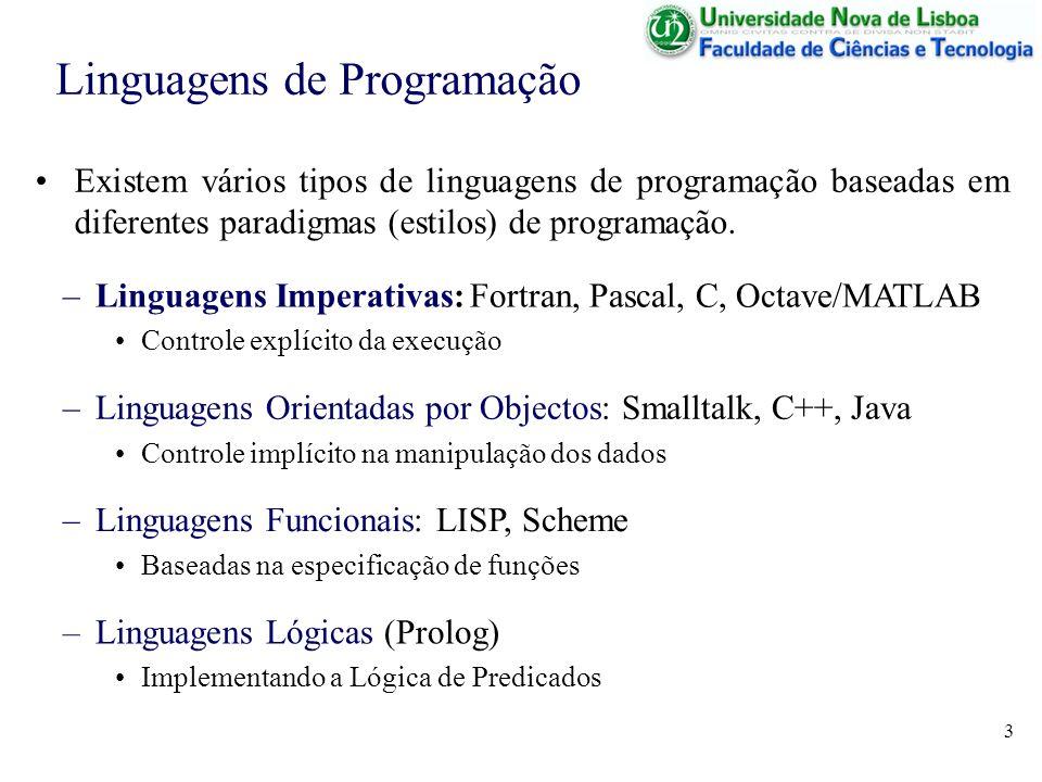 3 Existem vários tipos de linguagens de programação baseadas em diferentes paradigmas (estilos) de programação. Linguagens de Programação –Linguagens