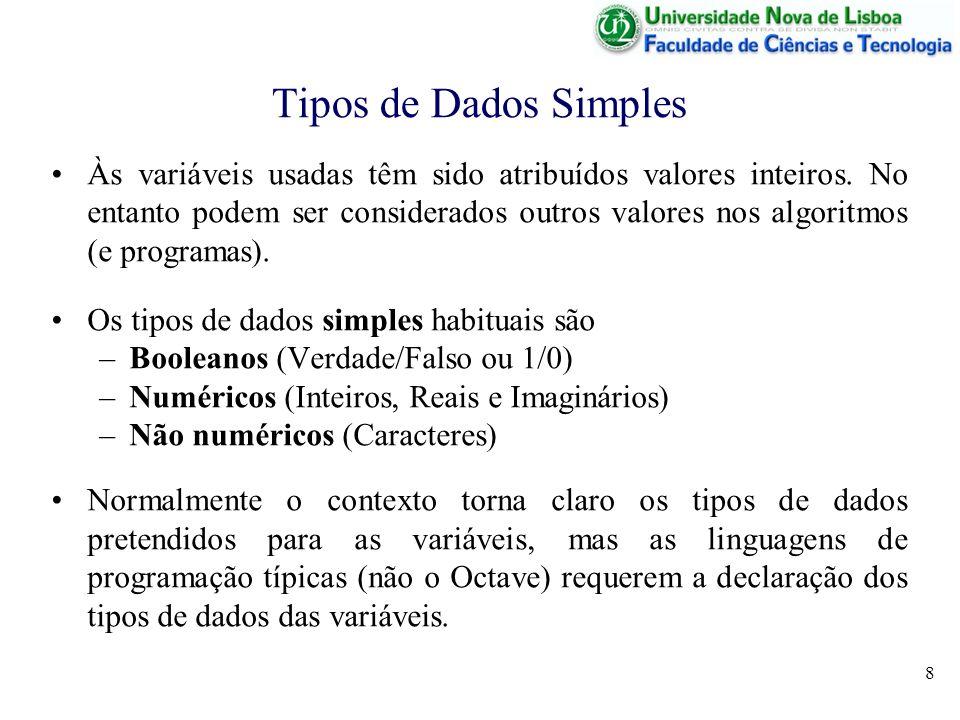 8 Tipos de Dados Simples Às variáveis usadas têm sido atribuídos valores inteiros. No entanto podem ser considerados outros valores nos algoritmos (e