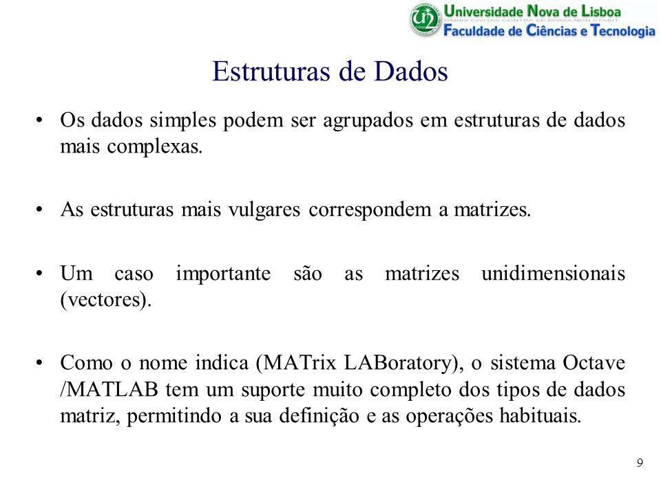 9 Estruturas de Dados Os dados simples podem ser agrupados em estruturas de dados mais complexas. As estruturas mais vulgares correspondem a matrizes.