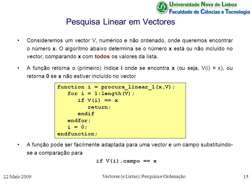 22 Maio 2009 Vectores (e Listas): Pesquisa e Ordenação 15 Pesquisa Linear em Vectores Consideremos um vector V, numérico e não ordenado, onde queremos