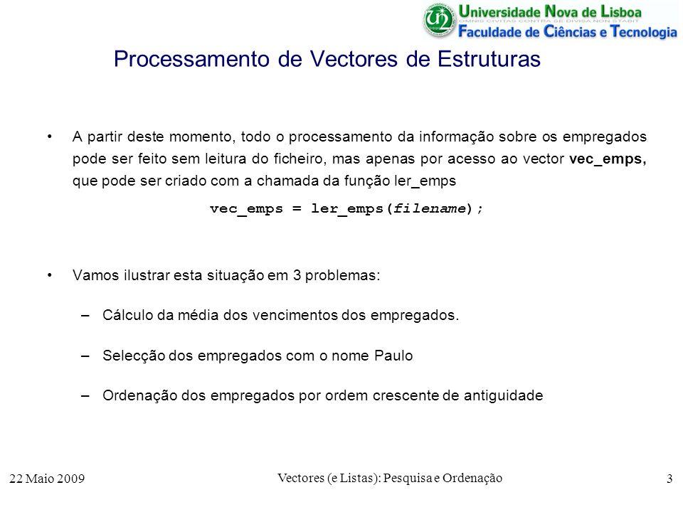 22 Maio 2009 Vectores (e Listas): Pesquisa e Ordenação 3 Processamento de Vectores de Estruturas A partir deste momento, todo o processamento da infor
