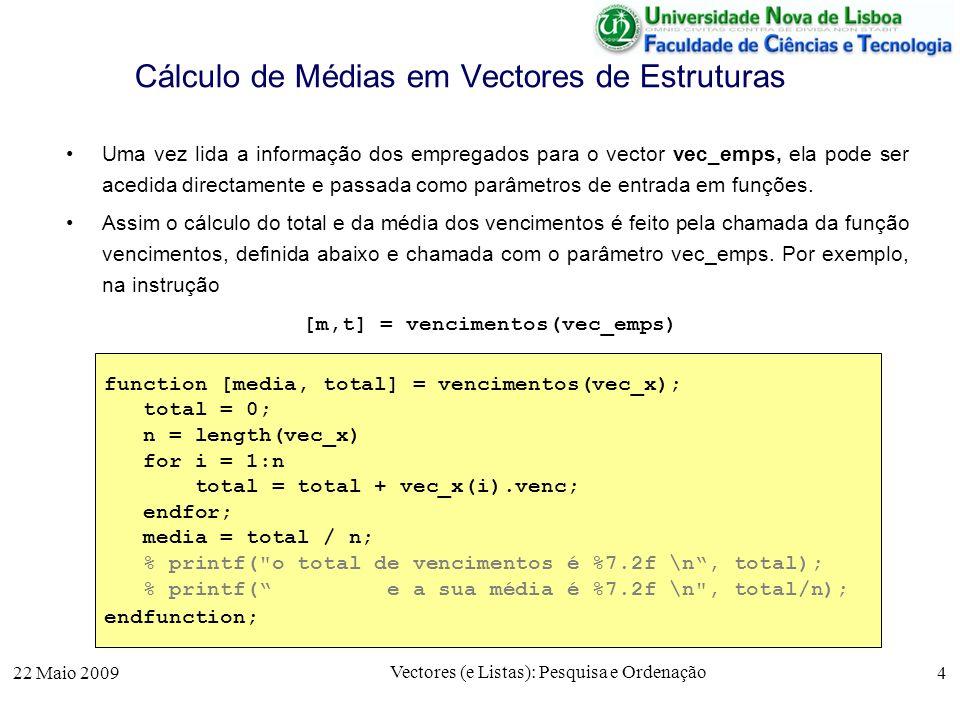 22 Maio 2009 Vectores (e Listas): Pesquisa e Ordenação 4 Cálculo de Médias em Vectores de Estruturas Uma vez lida a informação dos empregados para o v