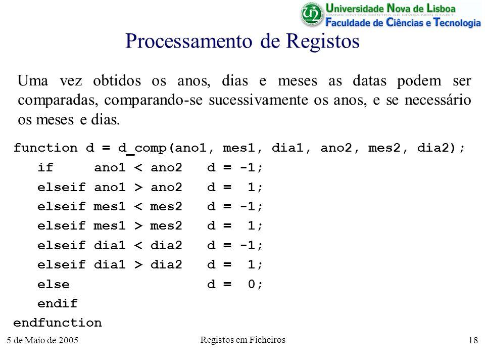 5 de Maio de 2005 Registos em Ficheiros 18 Processamento de Registos Uma vez obtidos os anos, dias e meses as datas podem ser comparadas, comparando-se sucessivamente os anos, e se necessário os meses e dias.