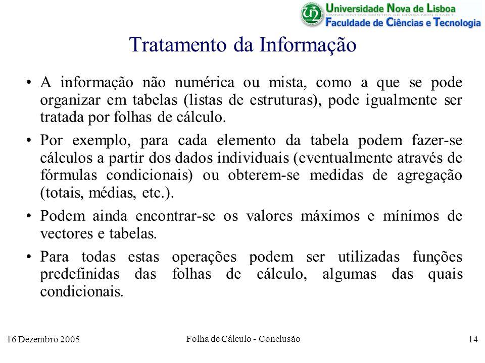 16 Dezembro 2005 Folha de Cálculo - Conclusão 14 Tratamento da Informação A informação não numérica ou mista, como a que se pode organizar em tabelas