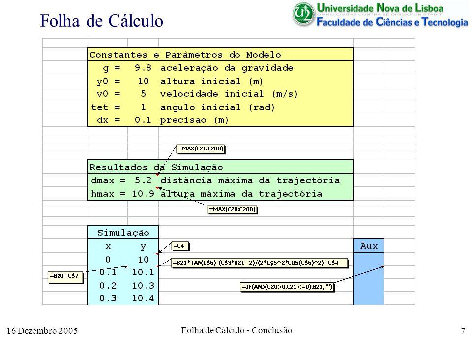 16 Dezembro 2005 Folha de Cálculo - Conclusão 7 Folha de Cálculo