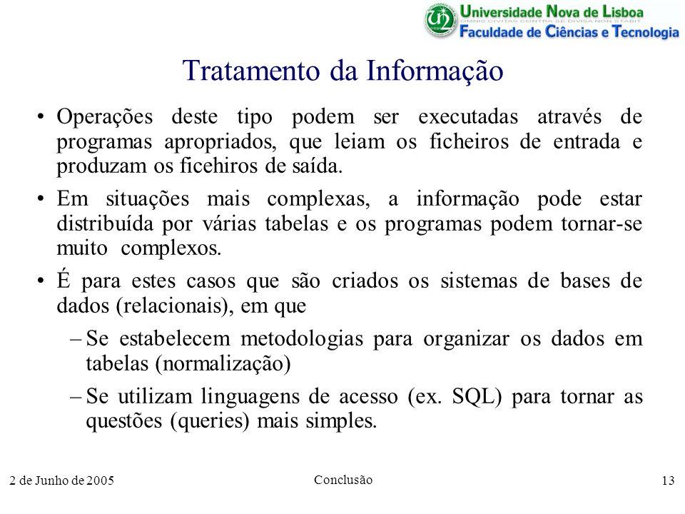2 de Junho de 2005 Conclusão 13 Tratamento da Informação Operações deste tipo podem ser executadas através de programas apropriados, que leiam os ficheiros de entrada e produzam os ficehiros de saída.