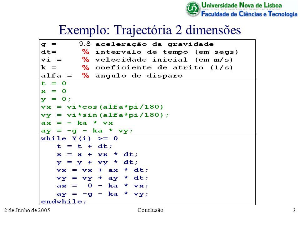 2 de Junho de 2005 Conclusão 3 Exemplo: Trajectória 2 dimensões