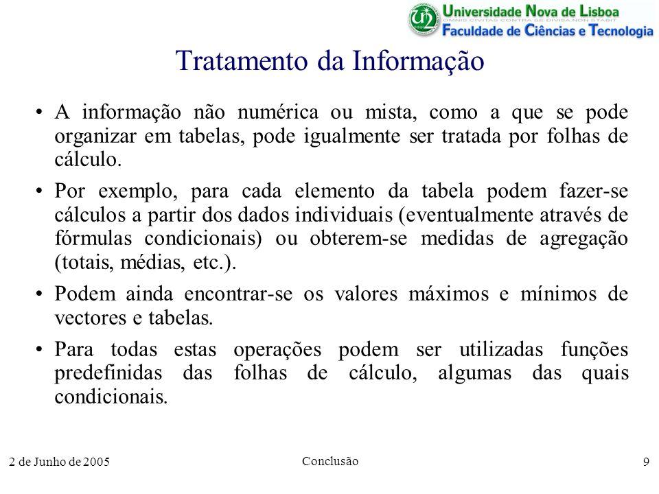 2 de Junho de 2005 Conclusão 9 Tratamento da Informação A informação não numérica ou mista, como a que se pode organizar em tabelas, pode igualmente ser tratada por folhas de cálculo.