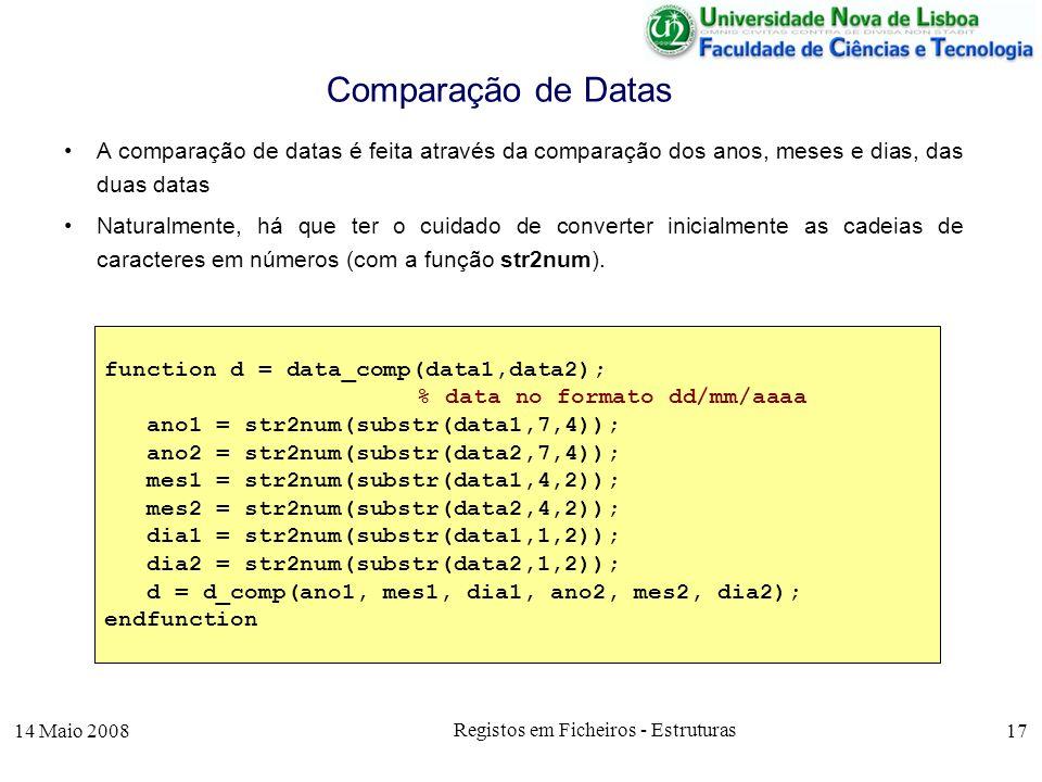 14 Maio 2008 Registos em Ficheiros - Estruturas 17 A comparação de datas é feita através da comparação dos anos, meses e dias, das duas datas Naturalmente, há que ter o cuidado de converter inicialmente as cadeias de caracteres em números (com a função str2num).
