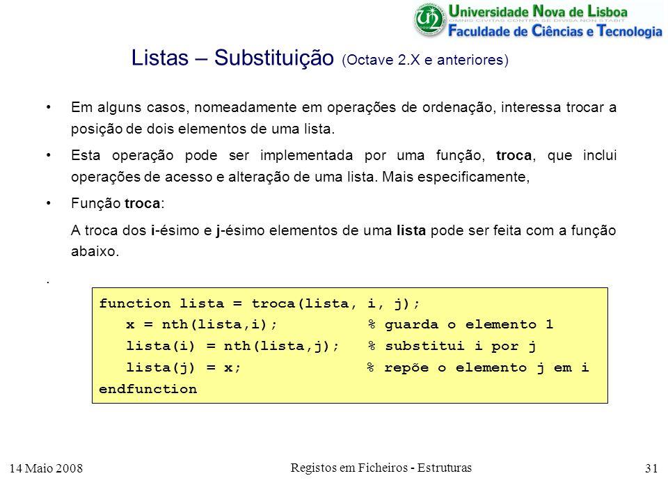 14 Maio 2008 Registos em Ficheiros - Estruturas 31 Listas – Substituição (Octave 2.X e anteriores) Em alguns casos, nomeadamente em operações de ordenação, interessa trocar a posição de dois elementos de uma lista.