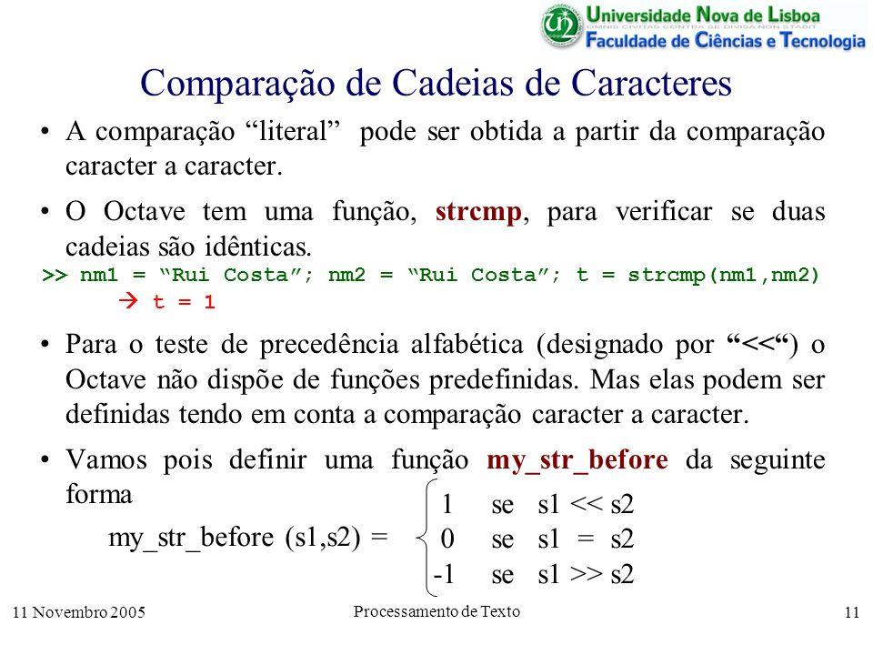 11 Novembro 2005 Processamento de Texto 11 Comparação de Cadeias de Caracteres A comparação literal pode ser obtida a partir da comparação caracter a caracter.