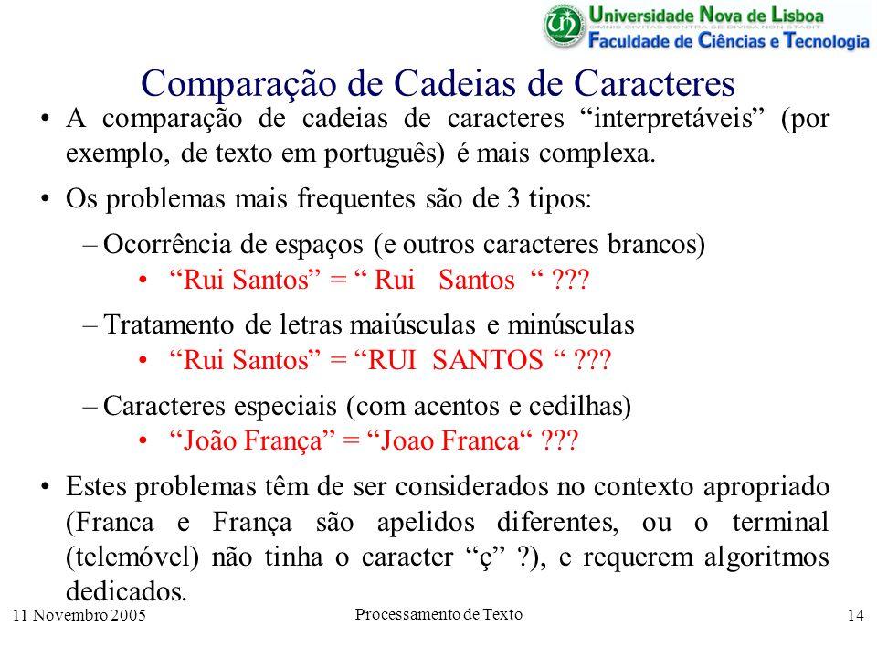 11 Novembro 2005 Processamento de Texto 14 Comparação de Cadeias de Caracteres A comparação de cadeias de caracteres interpretáveis (por exemplo, de texto em português) é mais complexa.