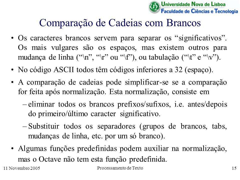 11 Novembro 2005 Processamento de Texto 15 Comparação de Cadeias com Brancos Os caracteres brancos servem para separar os significativos.