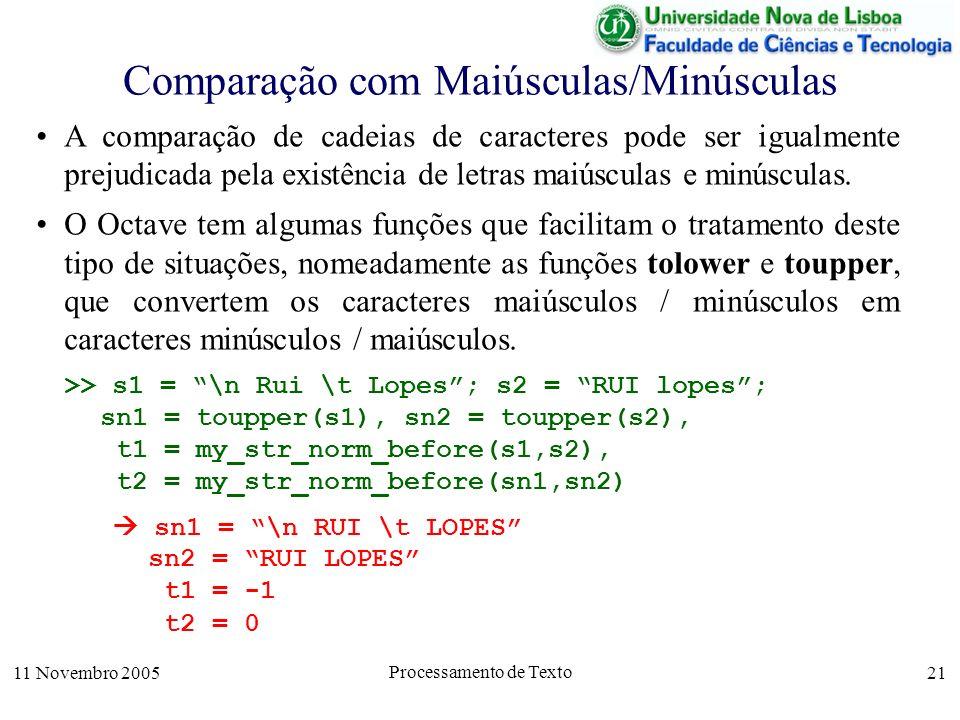 11 Novembro 2005 Processamento de Texto 21 Comparação com Maiúsculas/Minúsculas A comparação de cadeias de caracteres pode ser igualmente prejudicada pela existência de letras maiúsculas e minúsculas.