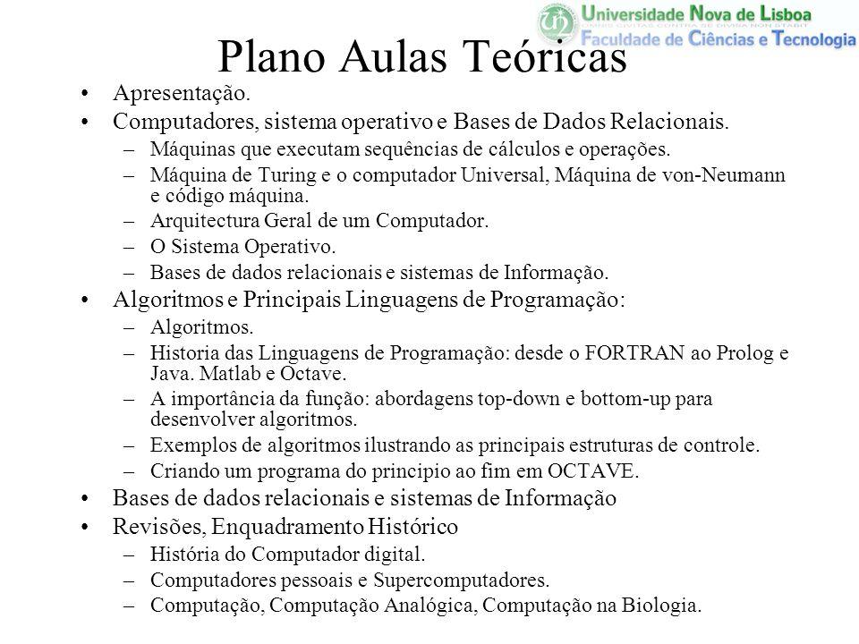 Plano Aulas Teóricas Apresentação. Computadores, sistema operativo e Bases de Dados Relacionais. –Máquinas que executam sequências de cálculos e opera