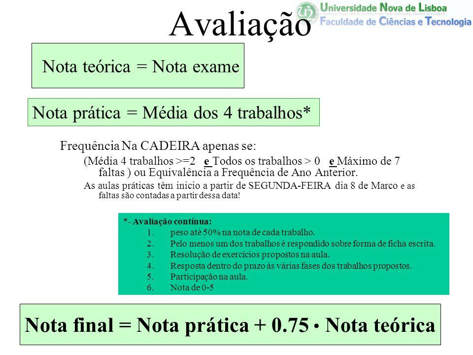 Avaliação Frequência Na CADEIRA apenas se: (Média 4 trabalhos >=2 e Todos os trabalhos > 0 e Máximo de 7 faltas ) ou Equivalência a Frequência de Ano