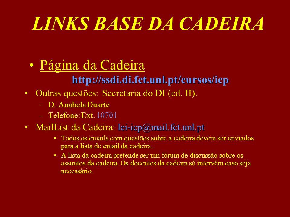 http://ssdi.di.fct.unl.pt/cursos/icpPágina da Cadeira http://ssdi.di.fct.unl.pt/cursos/icp Outras questões: Secretaria do DI (ed. II). –D. Anabela Dua
