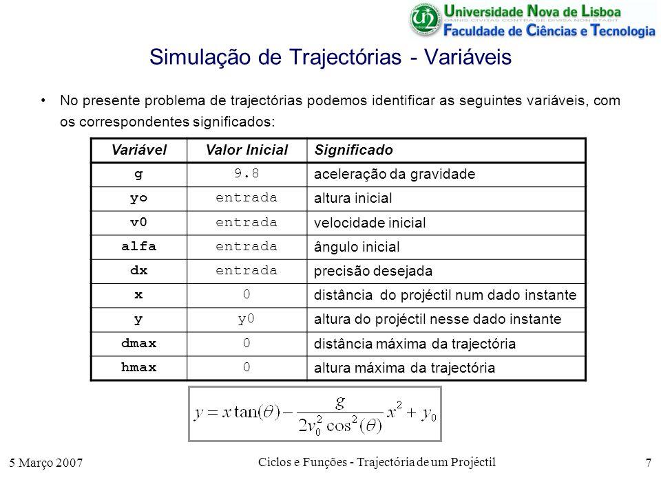 5 Março 2007 Ciclos e Funções - Trajectória de um Projéctil 7 Simulação de Trajectórias - Variáveis No presente problema de trajectórias podemos ident