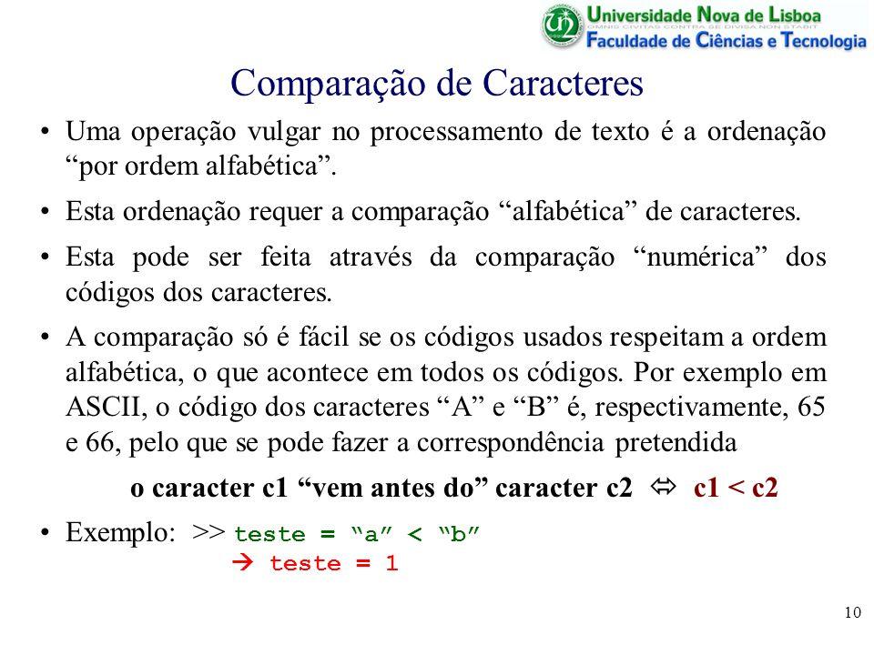 10 Comparação de Caracteres Uma operação vulgar no processamento de texto é a ordenação por ordem alfabética. Esta ordenação requer a comparação alfab