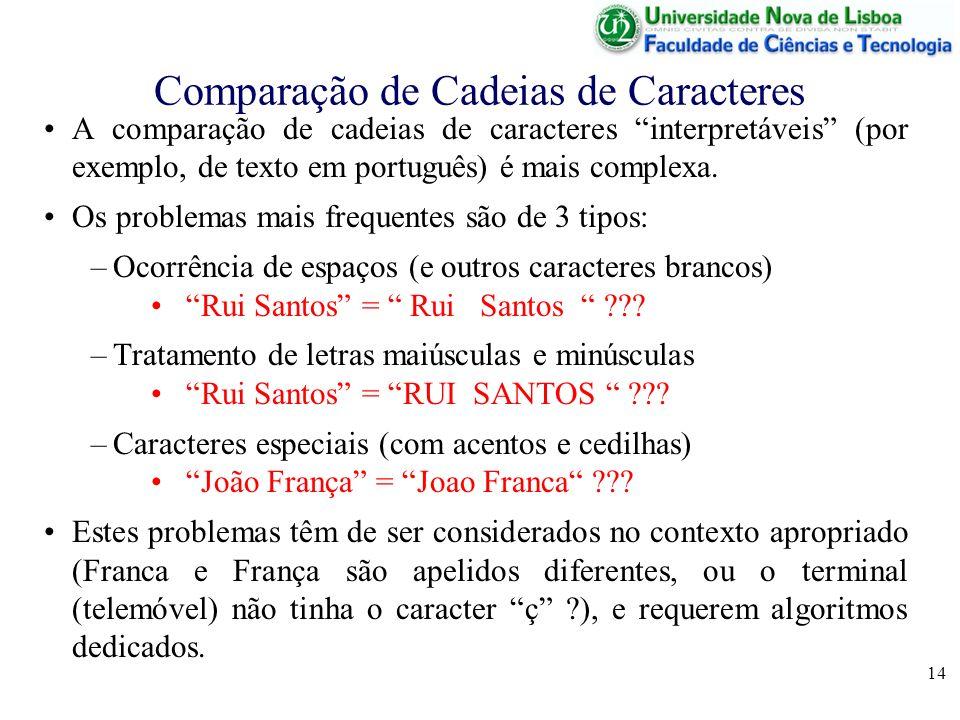 14 Comparação de Cadeias de Caracteres A comparação de cadeias de caracteres interpretáveis (por exemplo, de texto em português) é mais complexa. Os p
