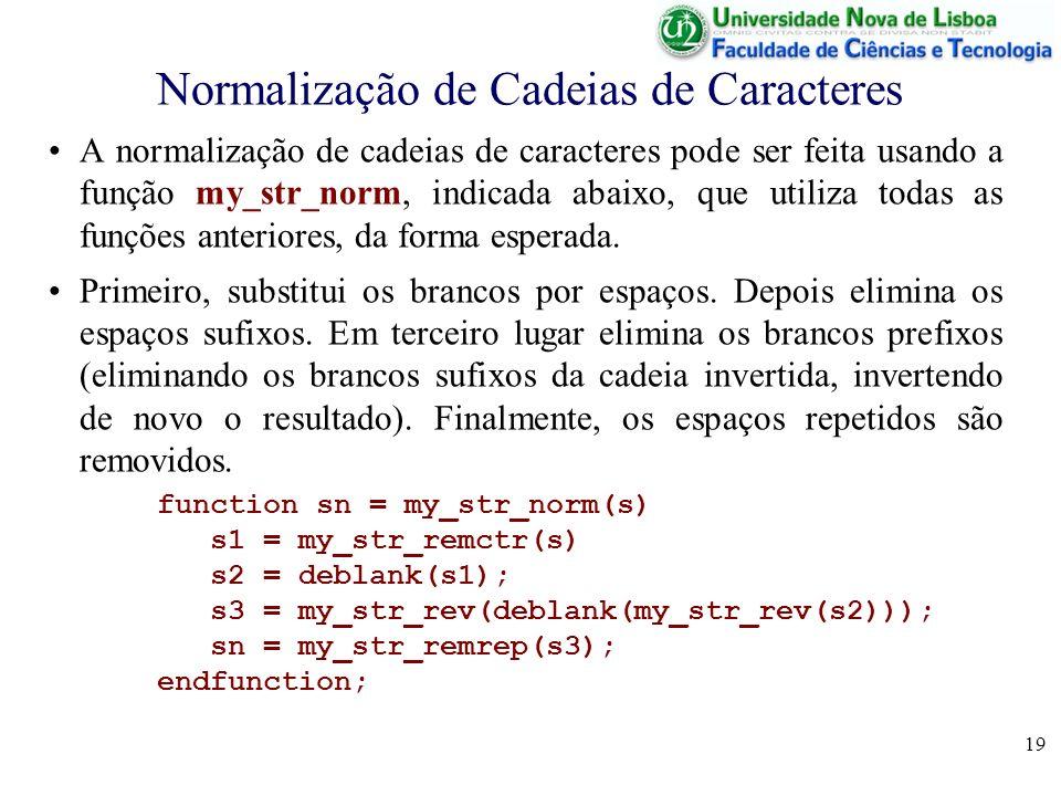 19 Normalização de Cadeias de Caracteres A normalização de cadeias de caracteres pode ser feita usando a função my_str_norm, indicada abaixo, que util
