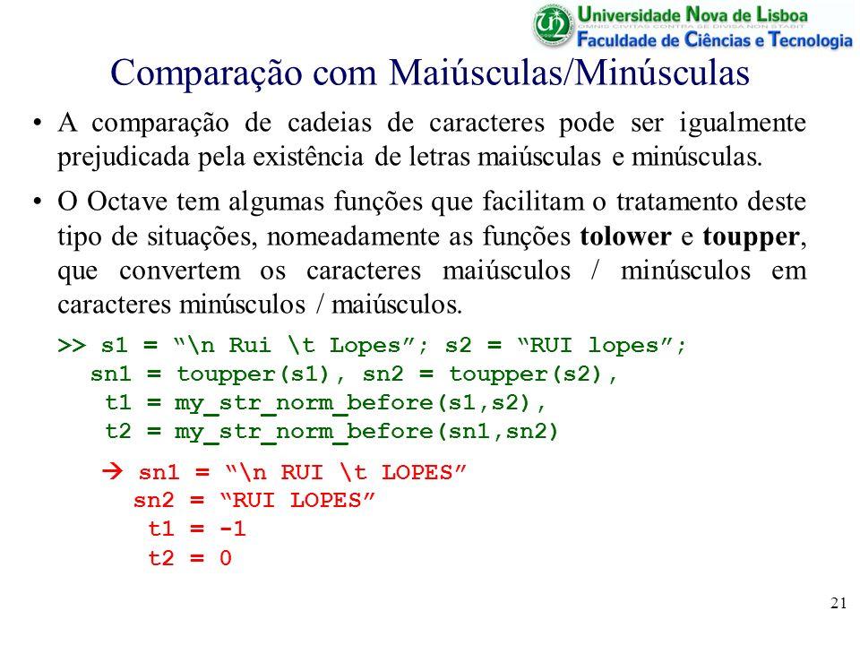 21 Comparação com Maiúsculas/Minúsculas A comparação de cadeias de caracteres pode ser igualmente prejudicada pela existência de letras maiúsculas e m
