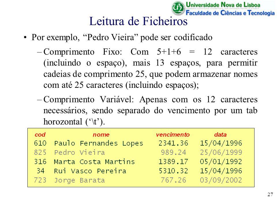 27 Leitura de Ficheiros Por exemplo, Pedro Vieira pode ser codificado –Comprimento Fixo: Com 5+1+6 = 12 caracteres (incluindo o espaço), mais 13 espaç
