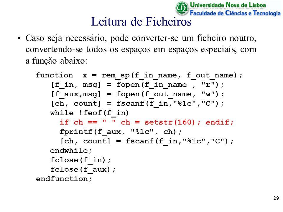 29 Leitura de Ficheiros Caso seja necessário, pode converter-se um ficheiro noutro, convertendo-se todos os espaços em espaços especiais, com a função