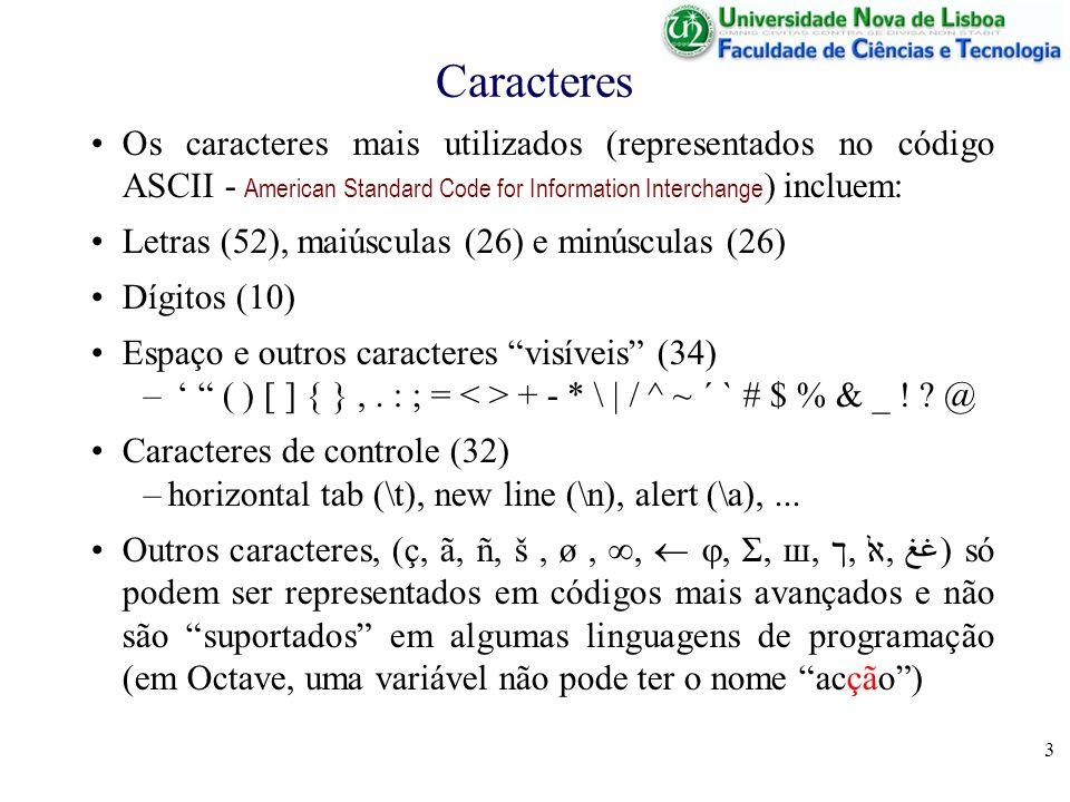 3 Caracteres Os caracteres mais utilizados (representados no código ASCII - American Standard Code for Information Interchange ) incluem: Letras (52),