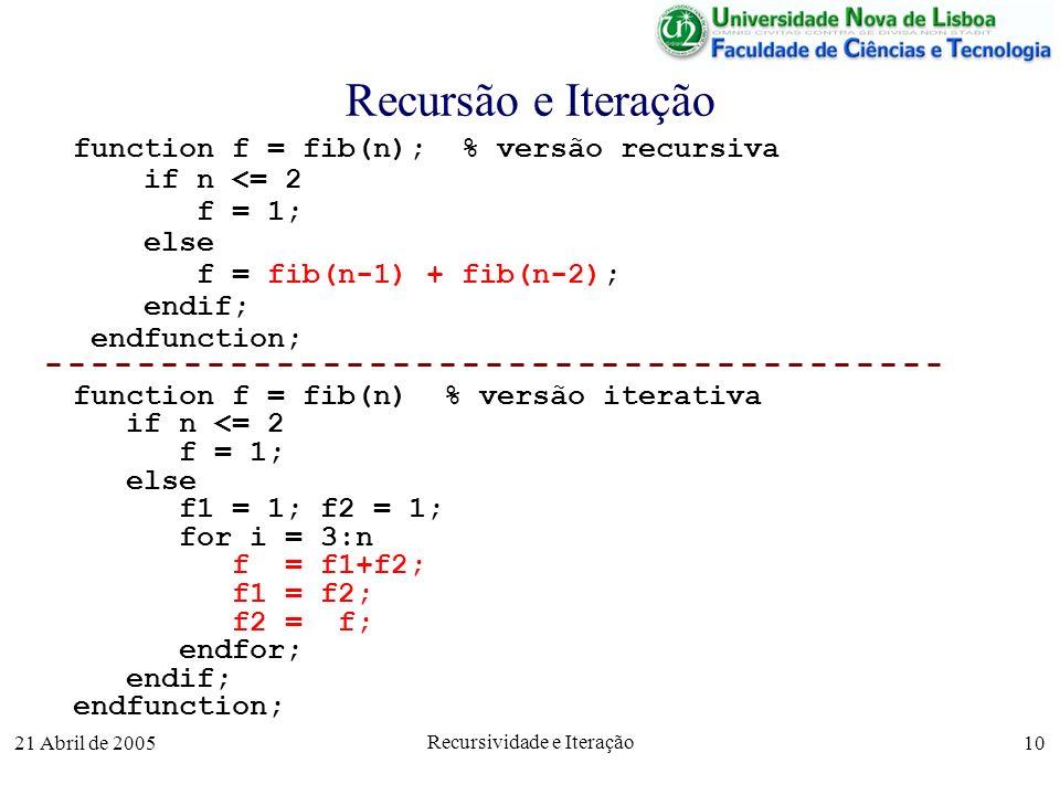 21 Abril de 2005 Recursividade e Iteração 10 Recursão e Iteração function f = fib(n); % versão recursiva if n <= 2 f = 1; else f = fib(n-1) + fib(n-2)