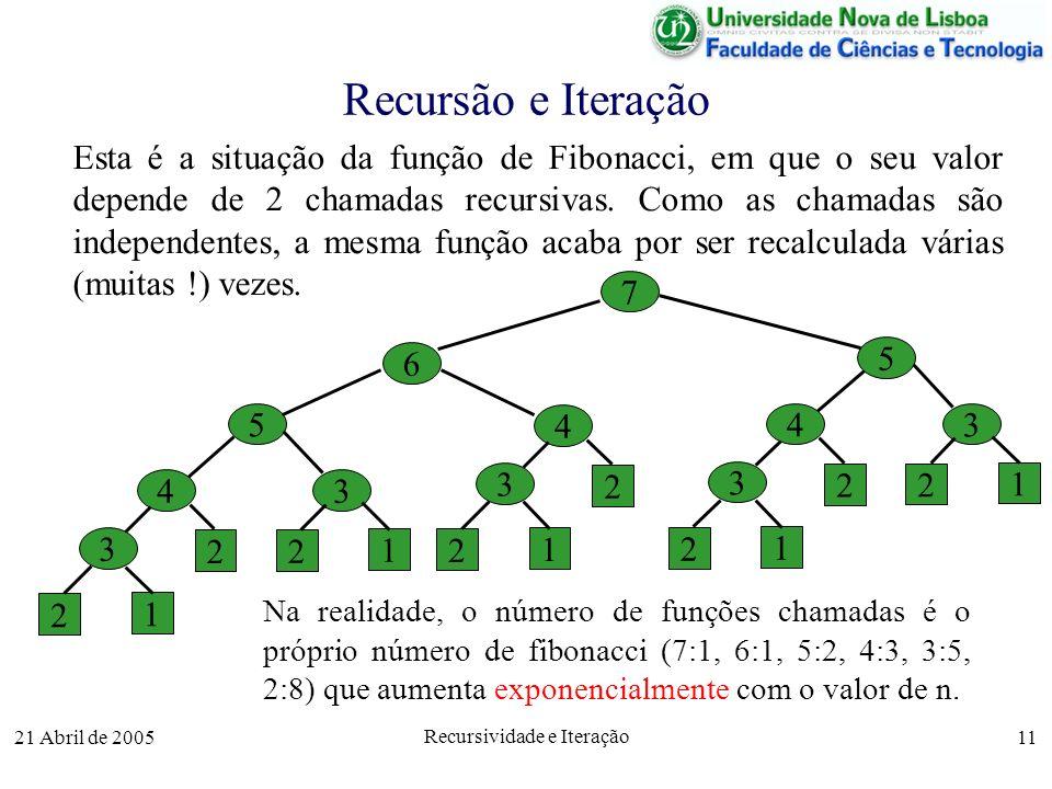 21 Abril de 2005 Recursividade e Iteração 11 Recursão e Iteração Esta é a situação da função de Fibonacci, em que o seu valor depende de 2 chamadas re