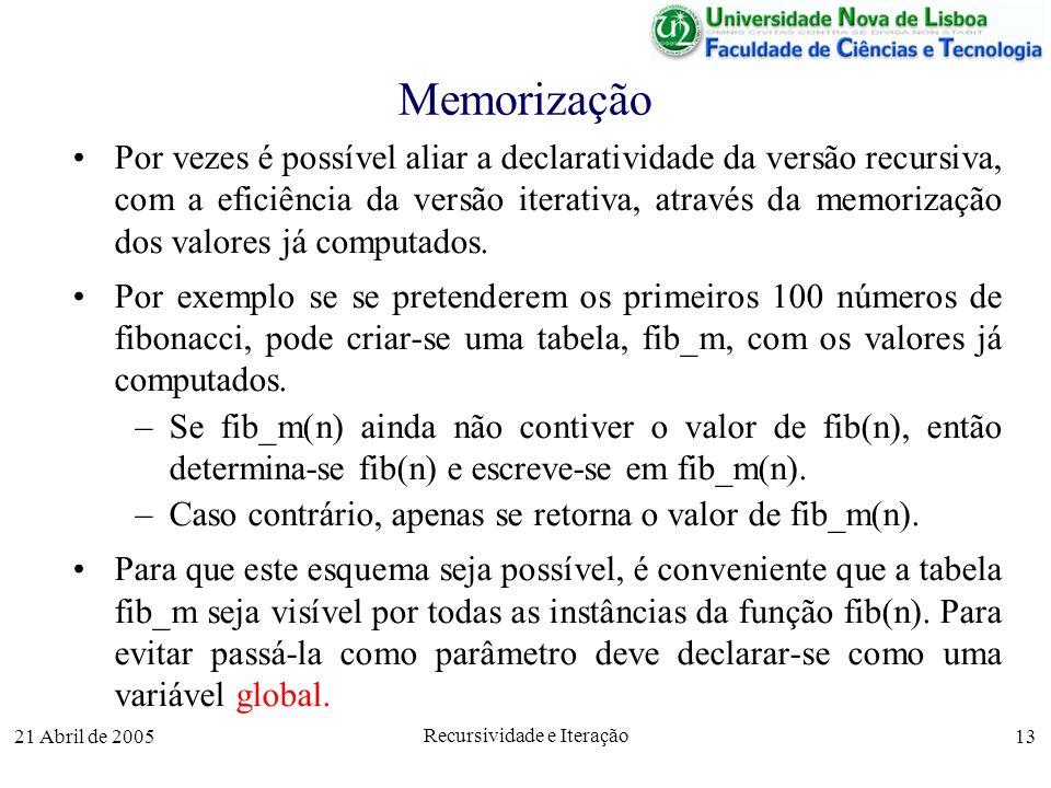 21 Abril de 2005 Recursividade e Iteração 13 Memorização Por vezes é possível aliar a declaratividade da versão recursiva, com a eficiência da versão