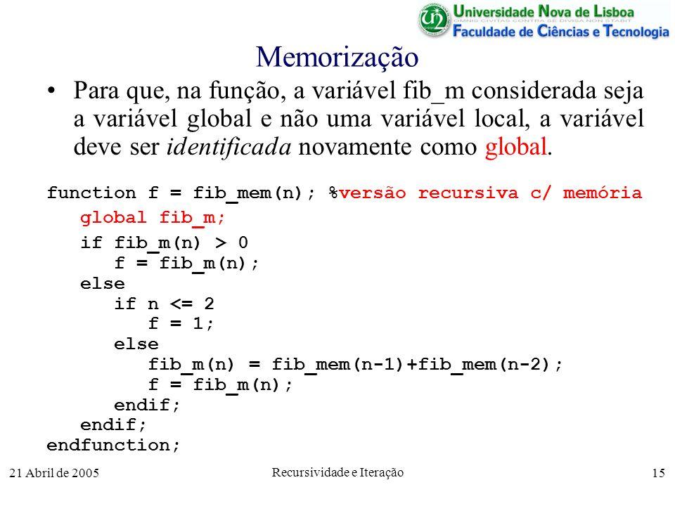21 Abril de 2005 Recursividade e Iteração 15 Memorização Para que, na função, a variável fib_m considerada seja a variável global e não uma variável l