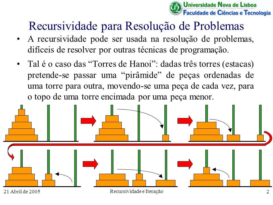 21 Abril de 2005 Recursividade e Iteração 2 Recursividade para Resolução de Problemas A recursividade pode ser usada na resolução de problemas, difíce