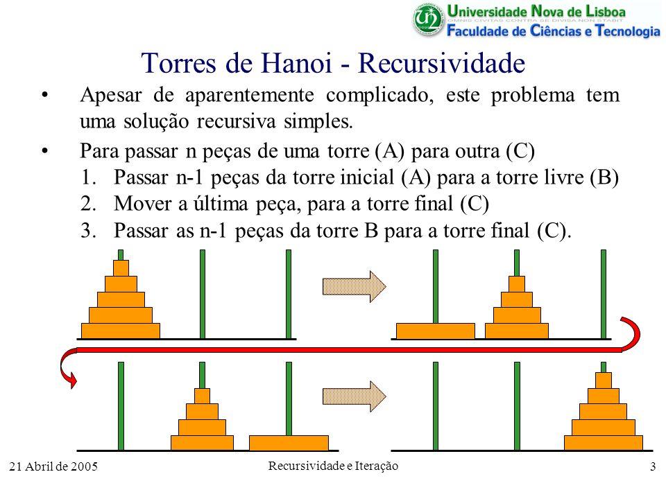 21 Abril de 2005 Recursividade e Iteração 3 Apesar de aparentemente complicado, este problema tem uma solução recursiva simples. Para passar n peças d