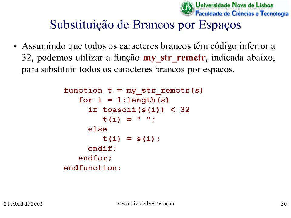 21 Abril de 2005 Recursividade e Iteração 30 Substituição de Brancos por Espaços Assumindo que todos os caracteres brancos têm código inferior a 32, p